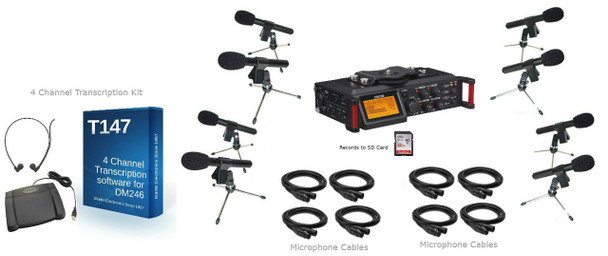 Courtroom Recording System 4 Track with 8 court microphones