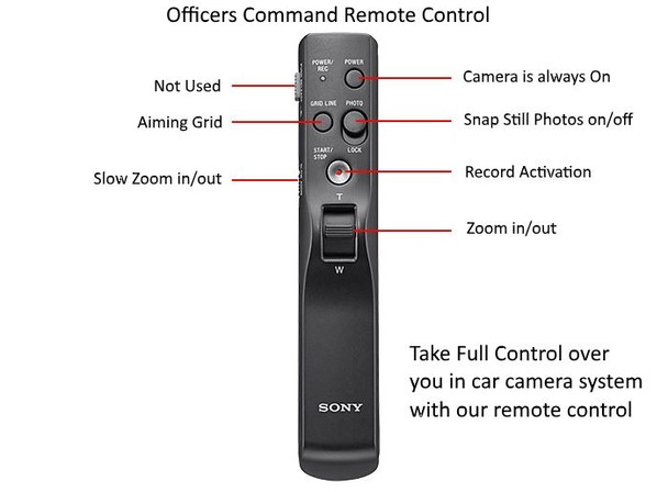 Worlds first Police Dash-Cam Remote Control for recording and photos during a police traffic stop