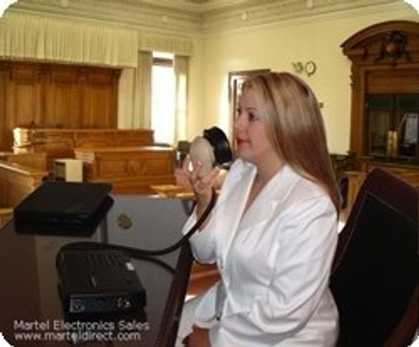 Court Reporter using the steno mask in court