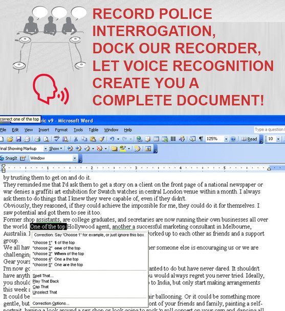 Police Interview Voice Recognition Room Recording System Multiple-Person Voice to Text Worlds Only - Revolutionary