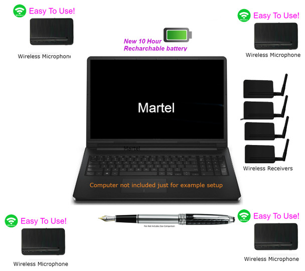 4  wireless microphone system for Court Reporters audiosync recordings