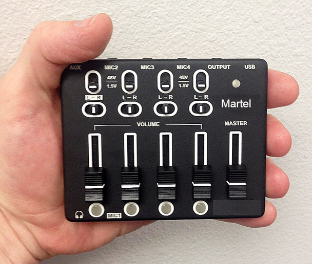 Small Micro Mixer for legal video depositions fits in the palm of your hand