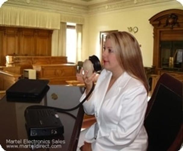 Court reporter using a steno mask