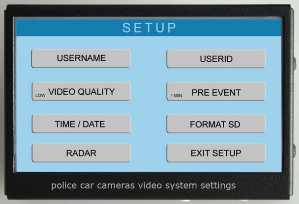 Police car cameras video system settings