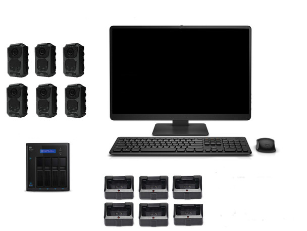 6 Officer Police Body Camera Package with 24 Terabyte Storage package On-Premises workstation and storage system.