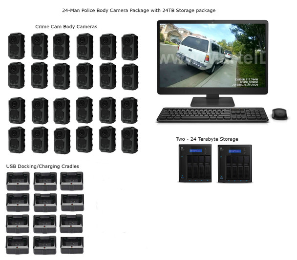 24 Officer Police Body Camera Package with 24 Terabyte Storage package On-Premises