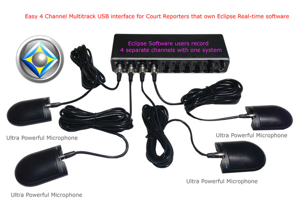 Easy 4 Channel Multitrack USB interface for Court Reporters that own Eclipse Real-time software