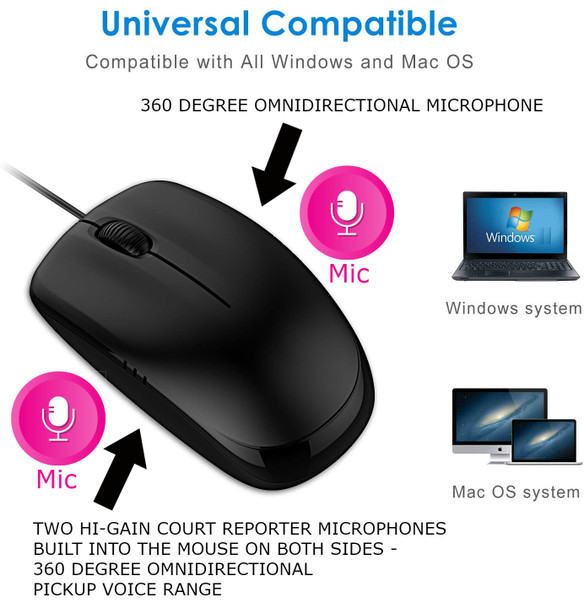 USB Court Reporter Microphone looks like a mouse