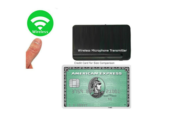 Comparison of the meeting wireless microphone to a credit card