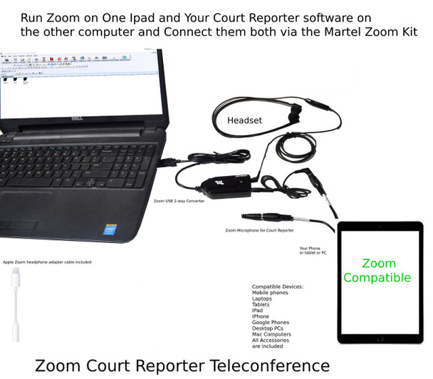Use a Ipad to Run Zoom and connect it to your Court Reporter Laptop