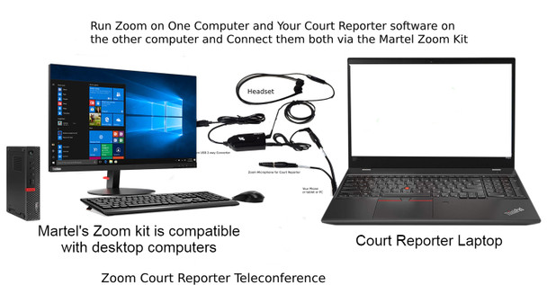 Official Court Reporter Zoom Kit with desktop computer and laptop connected Exclusive