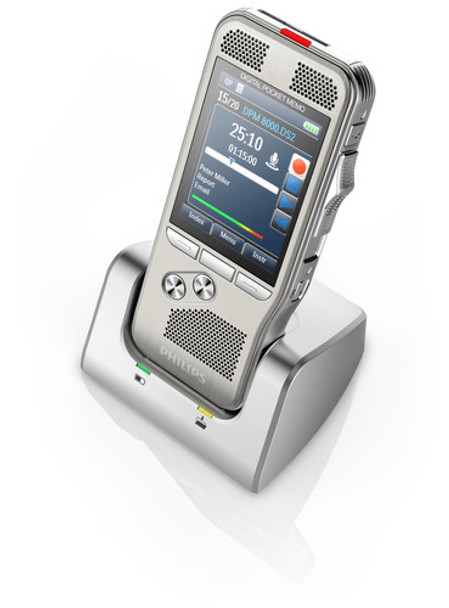 Philips dictation recorder 8000 in the docking station for recharging the batteries