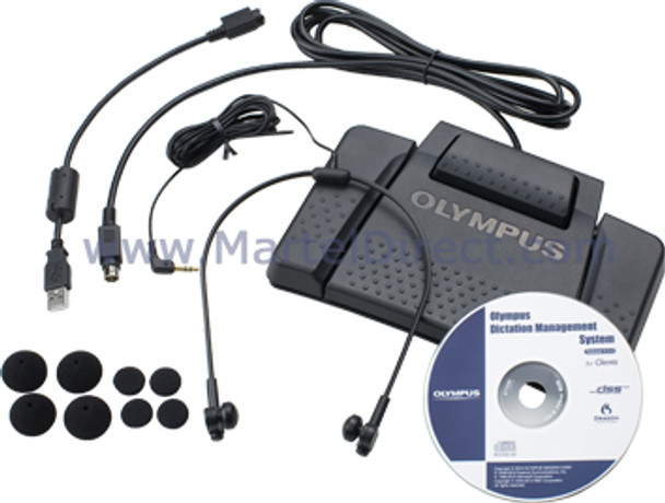 Olympus as9000 transcription kit with foot pedal and headset for the secretary