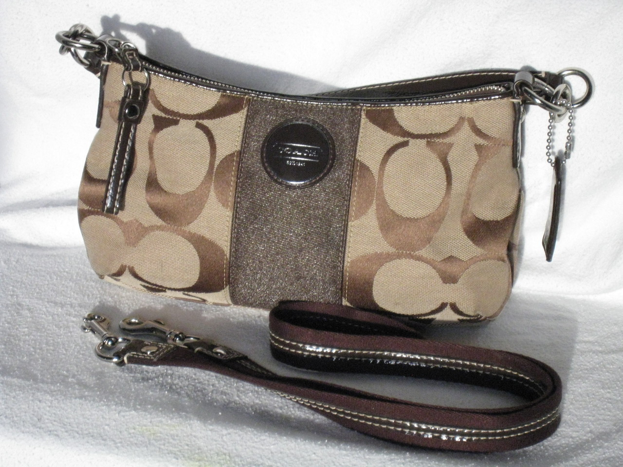 66532bb1a130 Coach Signature Stripe Demi Crossbody Bag F17439 Khaki Mahogany Brown