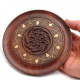 Hand Carved Circular Wooden Incense Holder with Floral Brass Inlay
