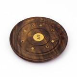 Small Incense Burner Plate - Yin Yang Inlay