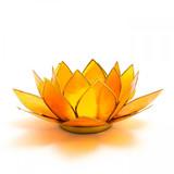 Capiz Shell Lotus Candle Holder - Orange