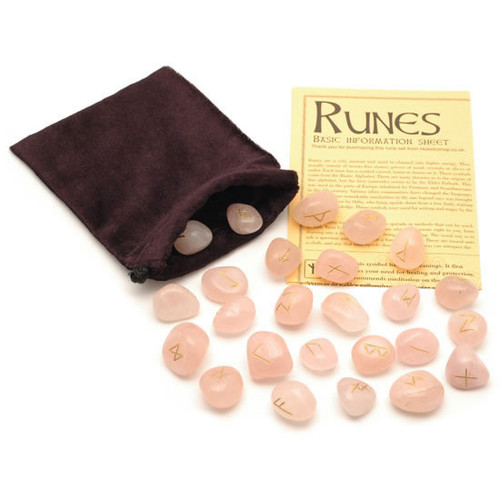 Crystal Rune Stones - Rose Quartz