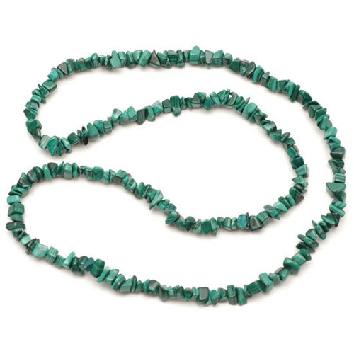(32 Inch) Crystal Chip Necklace - Malachite