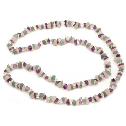 (36 Inch) Crystal Chip Necklace - Four Stone