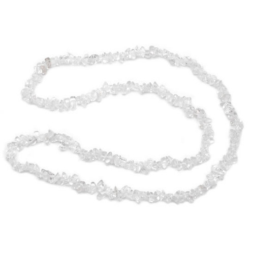 (32 Inch) Crystal Chip Necklace - Clear Quartz