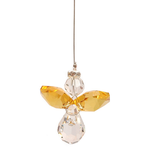 Lead Crystal Hanging Angel - Yellow