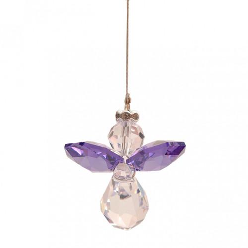 Lead Crystal Hanging Angel - Purple