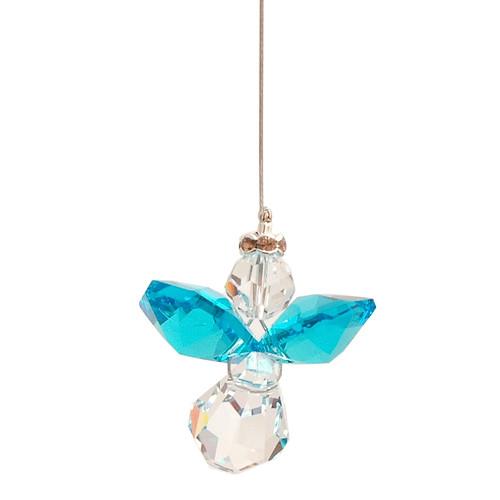 Lead Crystal Hanging Angel - Dark Aquamarine