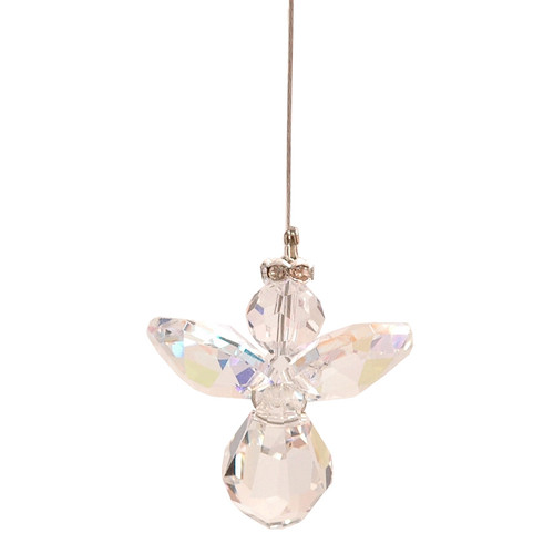 Lead Crystal Hanging Angel - Clear (with AB Coating)
