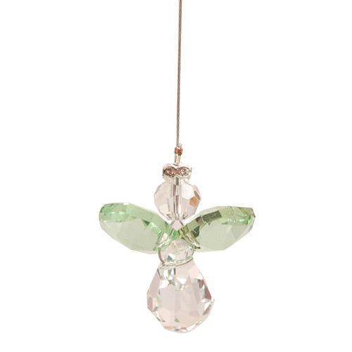 Lead Crystal Hanging Angel - Light Green