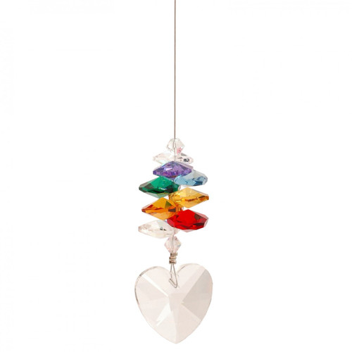 Lead Crystal Heart with Chakra Cascade