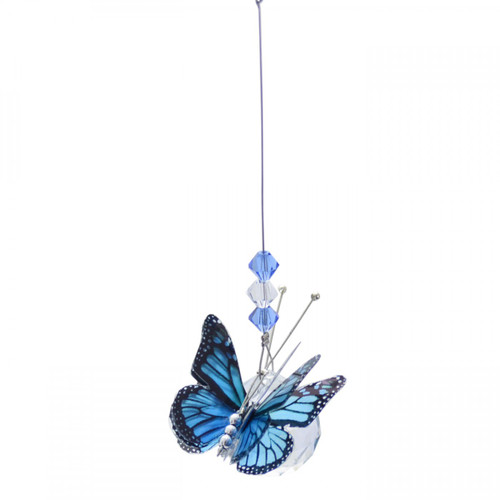 Small Lead Crystal Ball Butterfly - Blue