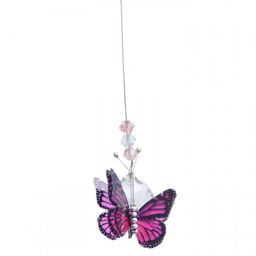Small Lead Crystal Ball Butterfly - Pink