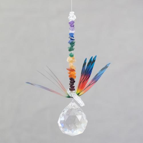 Lead Crystal Ball Dragonfly - Rainbow