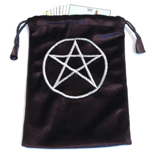 Black Velvet Tarot/Angel Card Bag - Pentacle Symbol