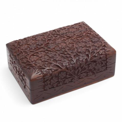 Wooden Sheesham Floral Storage Box