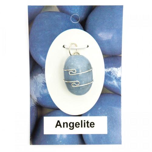 Wire Wrap Silver Pendant - Angelite