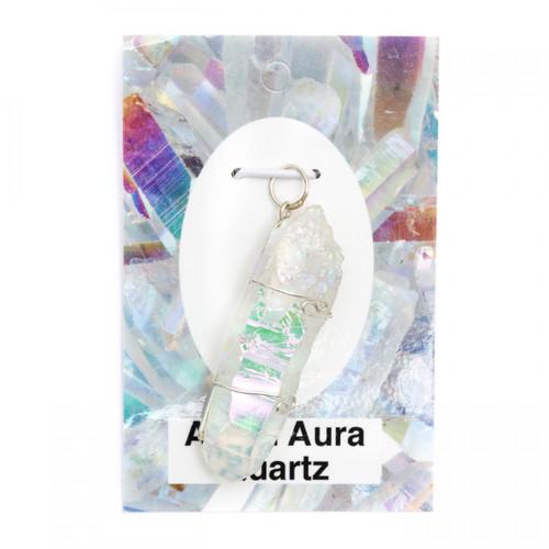 Wire Wrap Silver Pendant - Angel Aura Quartz