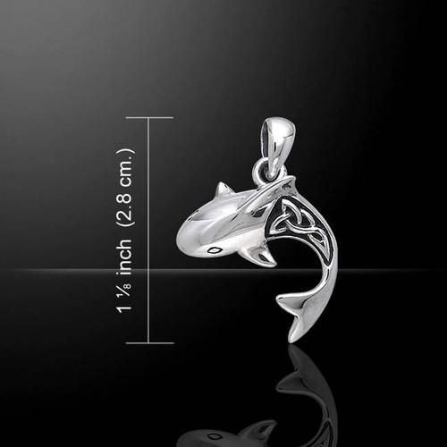 Celtic Shark Pendant (Sterling Silver)