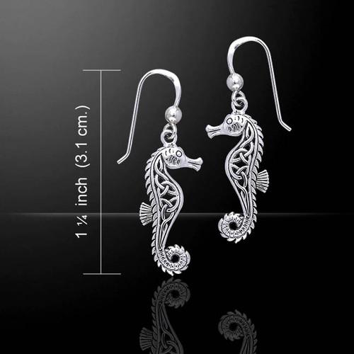 Celtic Knots Seahorse Earrings (Sterling Silver)