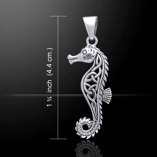 Celtic Knots Seahorse Pendant (Sterling Silver)
