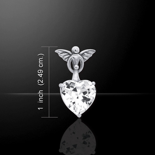 White Zirconia Angel & Baby Heart Pendant (Sterling Silver)