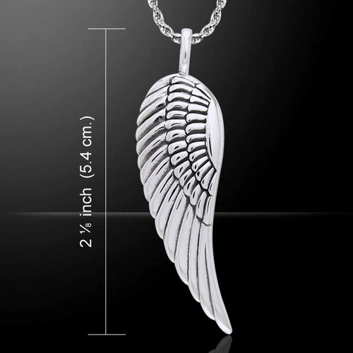 Large Single Angel Wing Pendant (Sterling Silver)