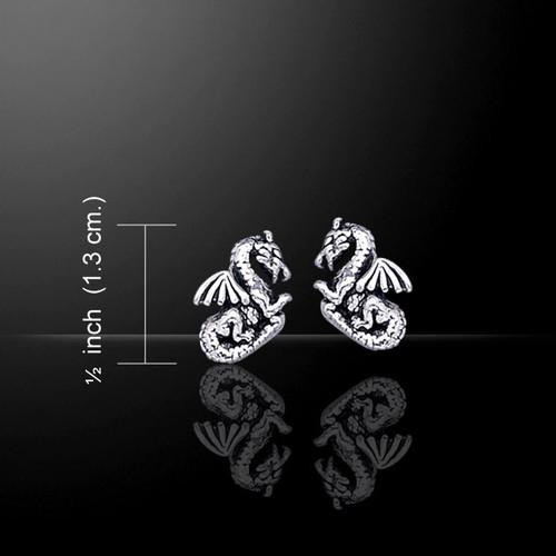 Dragon Stud Earrings (Sterling Silver)