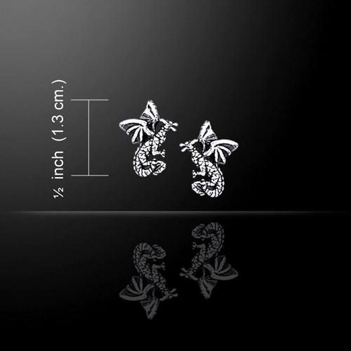 Flying Dragons Post Earrings (Sterling Silver)