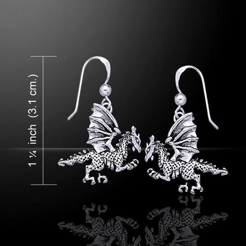 Clawing Dragon Earrings (Sterling Silver)
