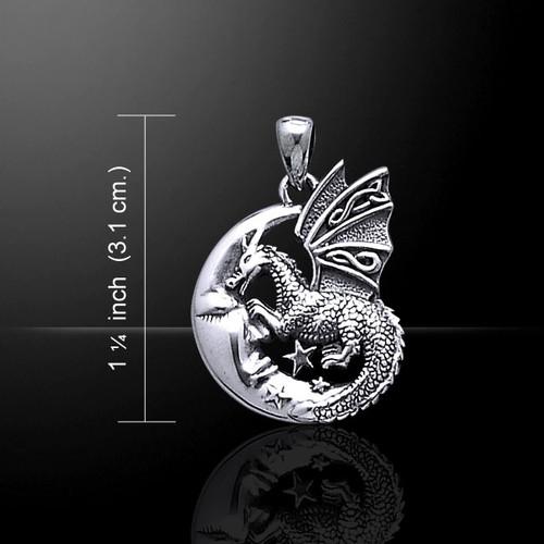 Slumbering Dragon on Moon Pendant (Sterling Silver)