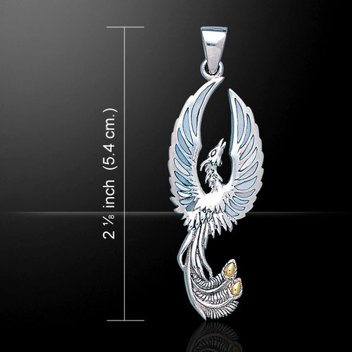 Flying Phoenix Pendant with Gem (Sterling Silver)