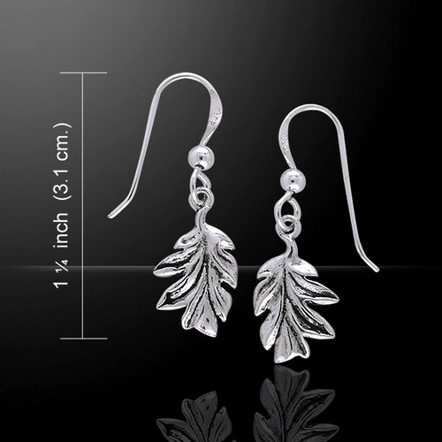 Magick and Witch Oak Leaves Earrings (Sterling Silver)