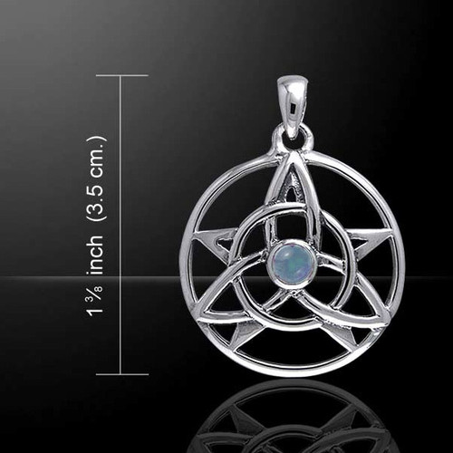 Druid Pendant with Rainbow Moonstone (Sterling Silver)